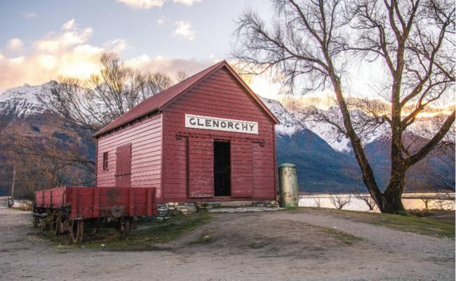 red glenorchy shed at sunset