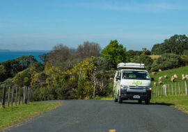 jucy camper driving in north island
